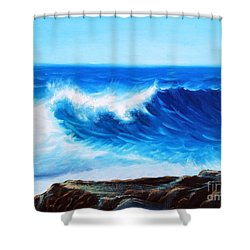 Blue Shower Curtain by Vesna Martinjak