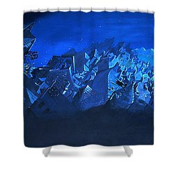 Blue Village Shower Curtain