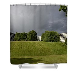 Shower Curtain featuring the photograph Blue Visions 3 by Teo SITCHET-KANDA