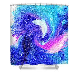 Blue Vortex Shower Curtain by Mariarosa Rockefeller