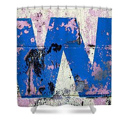 Blue W Shower Curtain by Ethna Gillespie