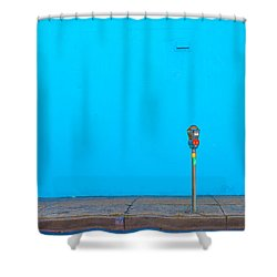 Blue Wall Parking Shower Curtain