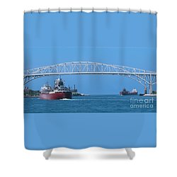 Blue Water Bridge And Freighters Shower Curtain