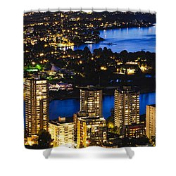 Shower Curtain featuring the photograph Blue Water Kitsilano Beach Mcdix by Amyn Nasser