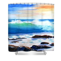 Blue Water Wave Crashing On Rocks Shower Curtain