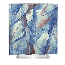 Blue White And Coral Abstract Panoramic Painting Shower Curtain