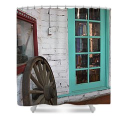 Shower Curtain featuring the photograph Blue Window And Wagon Wheel by Dora Sofia Caputo Photographic Art and Design