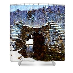 Blue Winter Stone Bridge Shower Curtain by Janine Riley