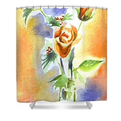 Blue With Redy Roses And Holly Shower Curtain by Kip DeVore