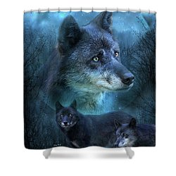Blue Wolf Shower Curtain by Carol Cavalaris