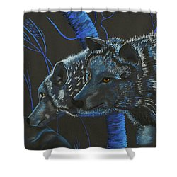 Blue Wolves Shower Curtain