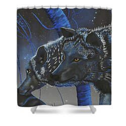 Blue Wolves With Stars Shower Curtain