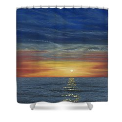 Blueberry Beach Sunset Shower Curtain