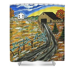 Shower Curtain featuring the painting Blueberry Farm by Jeffrey Koss