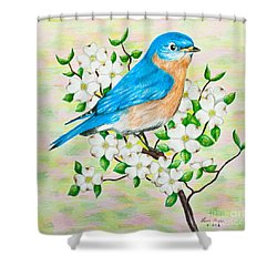 Bluebird And Dogwood Shower Curtain by Lena Auxier