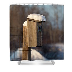 Bluebird House Covered With Snow Shower Curtain by Linda Freshwaters Arndt