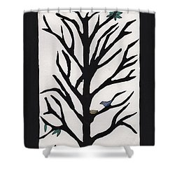 Bluebird In A Pear Tree Shower Curtain by Barbara St Jean