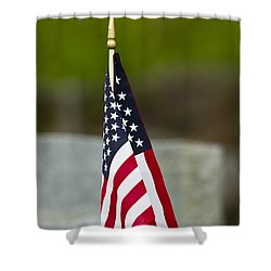 Bluebird Perched On American Flag Shower Curtain by John Vose