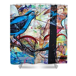 Shower Curtain featuring the mixed media Bluebird Signs by Terry Rowe