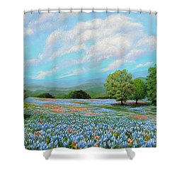 Shower Curtain featuring the painting Bluebonnet Fields In Texas by Jimmie Bartlett