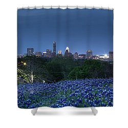 Bluebonnet Twilight Shower Curtain by Dave Files