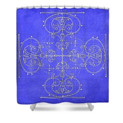 Blueprint Maltese Cross Shower Curtain