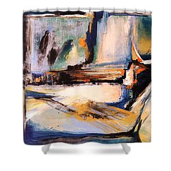 Blues And Orange Shower Curtain by Glory Wood