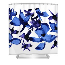 Shower Curtain featuring the mixed media Blues And Violets by Frank Bright