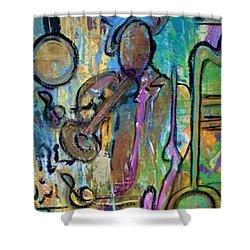 Blues Jazz Club Series Shower Curtain