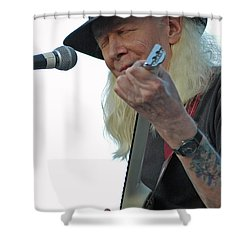 Shower Curtain featuring the photograph Bluesman Johnny Winter by Mike Martin