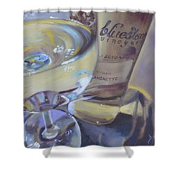 Bluestone Traminette And Glass Shower Curtain by Donna Tuten