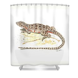 Blunt-nosed Leopard Lizard  Shower Curtain by Cindy Hitchcock