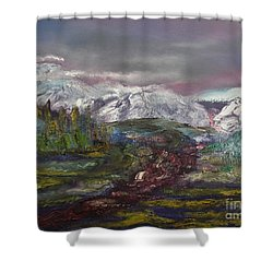 Shower Curtain featuring the painting Blurred Mountain by Jan Dappen