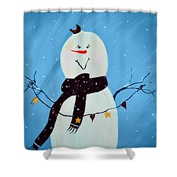 Blushing Snowman Shower Curtain by Chastity Hoff