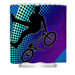 Bmx In Fractal Movie Marquee Shower Curtain by Elaine Plesser