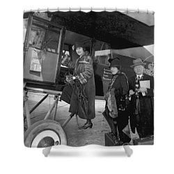 Boarding Fokker Airplane Shower Curtain by Underwood Archives