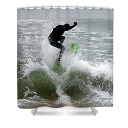 Boardskimming - Into The Surf Shower Curtain by Kim Bemis