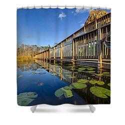 Boardwalk At Grassy Waters Shower Curtain by Debra and Dave Vanderlaan