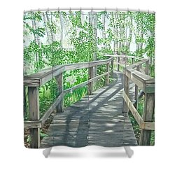 Shower Curtain featuring the painting Boardwalk by Bonnie Heather