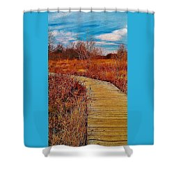 Shower Curtain featuring the photograph Boardwalk by Daniel Thompson