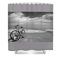 Boardwalk View With Bike In Antibes France Black And White Shower Curtain by Ben and Raisa Gertsberg