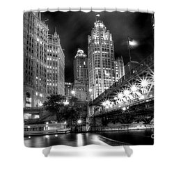 Boat Along The Chicago River Shower Curtain