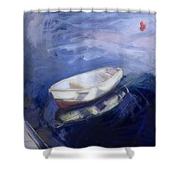 Boat And Buoy Shower Curtain by Sue Jamieson