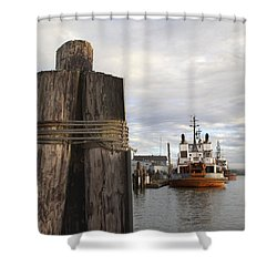 View From The Pilings Shower Curtain by Suzy Piatt
