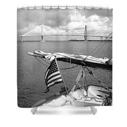 Boat And Charleston Bridge Shower Curtain