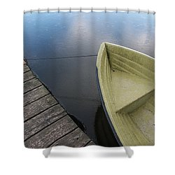 Boat And Wooden Pier - Quiet And Peaceful Scenery Shower Curtain by Matthias Hauser