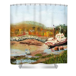 Boat At Bic Quebec Shower Curtain by Michael Daniels