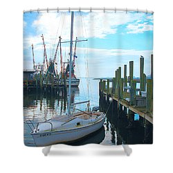 Boat At Dock By Jan Marvin Shower Curtain