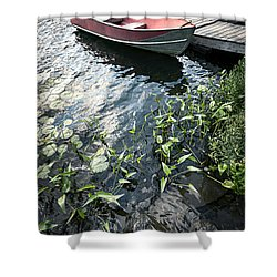 Boat At Dock On Lake Shower Curtain by Elena Elisseeva