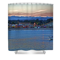 Boat At Dusk Santa Cruz Boardwalk Shower Curtain